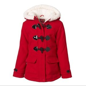 Old Navy red sherpa lined toggle winter jacket